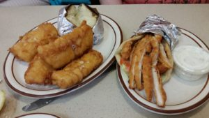 Seafood Plate and Chicken Wrap at Leo's Coney Island